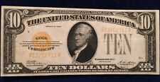 1928 $10 Gold Certificate Woods-Mellon Signatures Nice Condition