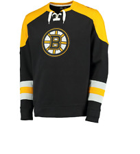 NHL Boston Bruins Black Centre Lace-Up Sweatshirt Hockey Jersey New Mens 4XL