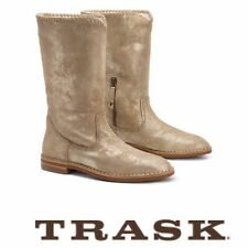 Trask Womens Audra Metallic Suede Shearling Lined Mid Calf Boots Taupe 7M