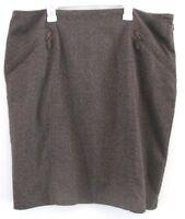 Coldwater Creek Pencil Skirt Career Brown Zipper Pockets Lined Double Slit Sz 16