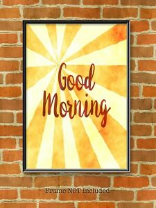 Good Morning, Sun Rays Wall Art, Typography Print. Colourful Quote Sun Print,