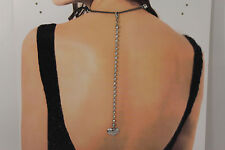Women Heart Silver Back Pendant Necklace Metal Chain Fashion Jewelry Rhinestones