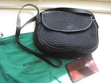 vintage Bottega Veneta black straw leather PURSE woven textile shoulder handbag