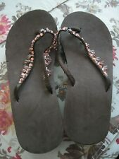 Beaded Sandals Flip Flops NEW Brown with faux Pink Crystal Size Large