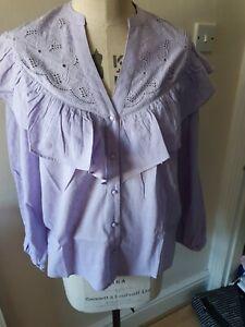 Lipsy Broderie Ruffle Yoke Shirt/blouse, Lilac Size 10 Bnwt