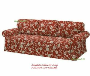 IKEA VRETSTORP Cover for 3-Seat Sofa-Bed ~ Virestad Red/White: 505.035.79