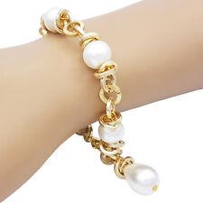 Bracciale da donna con perle di majorca in alluminio e moschettone in acciaio