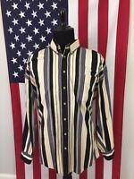 vtg 90s Tan & Black Colorblock Striped Denim Shirt men's XLT xl tall Jean 7921