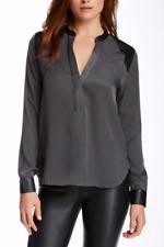 ZOA New York Sz M Faux Leather Trim Loose Fit Hi-Lo Sepia LS NWT Blouse $138