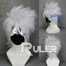 Short layered Hatake Kakashi Silver White Anime Cosplay Wig Hair 01