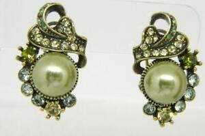 Heidi Daus Jeweled Pastel Crystal Gold Tone Faux Green Pearl Pierced Earrings