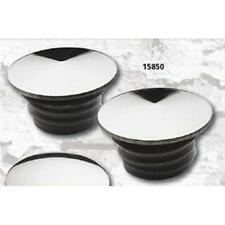 Set of Billet Chrome Pointed Top Gas Caps for Harley