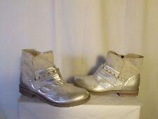 boots/bottines donna piu toile enduite blanc cassé et cuir argent 35