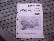 New Idea Farm Equipment 219 220 221/D 222T Liquid Manure Spreaders Owners Manual