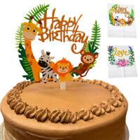 Happy Birthday Party Wild Jungle Safari Animal Zebra Lion Cake Topper Decor