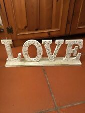 "SHABBY CHIC STYLE WOODEN ""LOVE"" LETTERS ON A WOOD BASE #D"