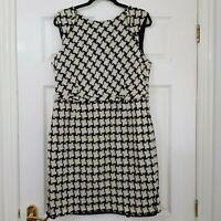 HOBBS 100% Wool Black & Off White Dogtooth Pencil Dress UK 16 Boucle Career Work