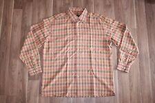 Men's Large Bugatchi Uomo Dress Long shirt Red Orange Striped Formal Polo Button