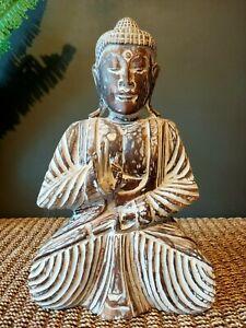 Wooden Buddha Dark Brown Whitewash Large 50cm NEW