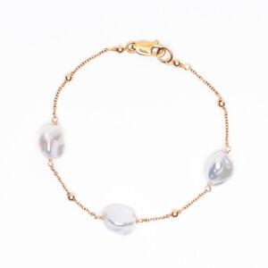 Handmade!Unique white Keshi Pearl Bracelet 14Kt Yellow Gold Filled 7.2''
