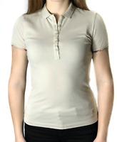 Authentic women's BURBERRY BRIT beige/check cotton polo t-shirt | Size XS