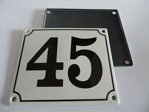 Old German White Enamel Porcelain Metal House Door Number Street Sign / Plate 45