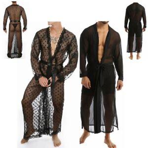 Men Mesh See-through Long Shirt Open Front Casual Bathrobe NightGown Sleepwear