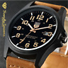 Men's Military Leather Date Quartz Analog Army Casual Dress Wrist Watches Gift