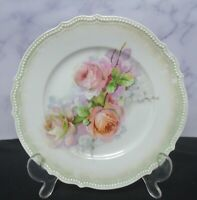 """Vintage Beautiful Early German P.K. Silesia Cabinet Plate Pink Roses 8"""" Plate"""