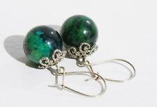 Handcrafted Silver Green Azurite Genuine Semi-precious Gemstone Earrings Gift