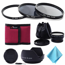 58MM 0.45x Wide Angle Lens + UV CPL ND4 Filter Kit for Canon Rebel T5i T4i LF413