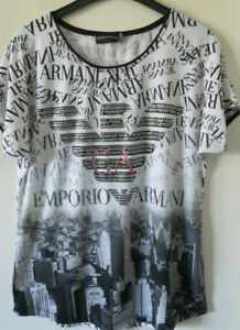 EMPORIO ARMANI Damenshirt T-Shirt Damen Stretchshirt Kurzarm Viskose Gr. 44