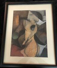 Picasso School Contemporary Abstract Cubist Nude Oil Pastel Painting - Signed