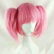 Puella Magi Madoka Magica Madoka Kaname Pink Cosplay Wig 2Ponytails+free wig cap