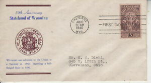 FDC #897 WYOMING  UNKNOWN CACHET MAKER  TA  ULTRA