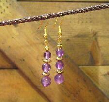 Beaded Amethyst Earrings, Dangle, Gemstone, Handcrafted ,Boho, Tribal, item #88