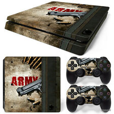 PS4 Slim Playstation 4 Console Skin Decal Sticker Army Gun + 2 Controller Skins