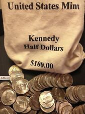 1971 - 2018 PD Kennedy Half Dollar 100 Coin Lot 2x Silver 90% 40% +U.S. Mint Bag