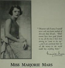 Actress Marjorie Mars Pond's Beauty Cream 1929 Page Ad Advertisement 6498
