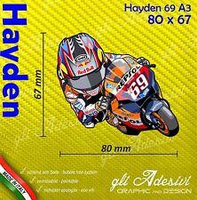 Adesivo Moto Nicky Hayden 69 caricatura stickers carene casco 80 x 67 mm