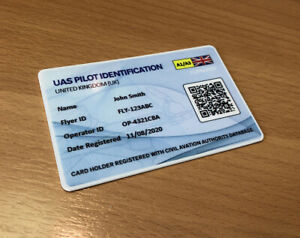 Drone Flyer ID Card -  UAV Pilot QR Identification - Drone Operator ID Card UK