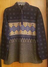 Catalina Women's Blue Bronze Combo Fair Isle Nordic Fleece 1/4 Zip Pullover XL