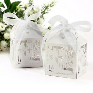 0/50/100X Mr&Mrs Sweet Cake Candy Gift Box Wedding Party Favour BoxeYJdn