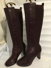CLARKS GENUINE SIZE 5.5 AUBERGINE LEATHER WOMENS HEEL KNEE HIGH BOOTS SHOES