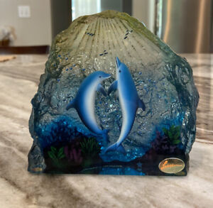 """The Art of Lassen Collection Dolphins Embracing The Light  Shelf Decor 4.5"""" Tall"""