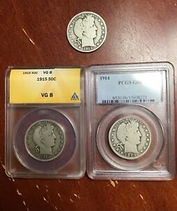 ANACS VG8 1915 PCGS G6 1914 1913 GOOD+ VERY PLEASING PROBLEM FREE 3 COIN LOT