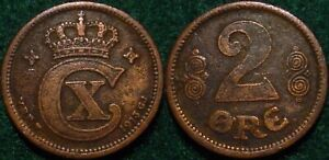 ONLY 373.000 MINTED KEY DATE 1913  2 DANISH ORE DENMARK**NICE DETAILS****