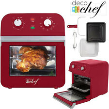 Deco Chef AirFryer XL 12.7QT Power Air Fryer Oven 7 Cook Features Rotisserie Red