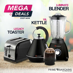 NEW 1.8L Electric Kettle 1.5L Blender With Grinder 2 Slice Toast Bagel Toaster