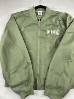 Victoria Secret Pink Flight Bomber Jacket Size Small Green Logo Full Zip